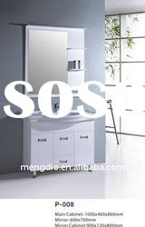 white ceramic basin mirrored PVC bathroom cabinet
