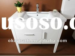 white solid wood bathroom cabinet