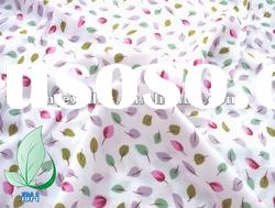 100% cotton leaf printed fabric for lady garment 45x45 133x72