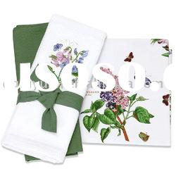 100% cotton table cloth with butterfly in the flower design