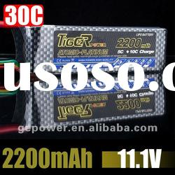 11.1V 2200mAh 3cell Tiger lipo battery for Rc helicopter