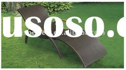 2011 HOT leisure outdoor sun lounger with teak arms garden rattan furniture PF-023-R