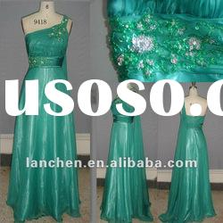 2012 New Design Evening Prom Dress with One Shoulder Beading#9418