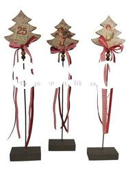 2012 New style wooden christmas tree with ribbon decoration