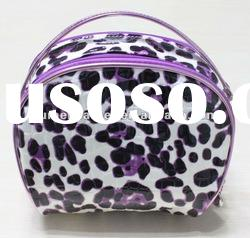 2012 fashion designer high quality leopard print pu cosmetic bag