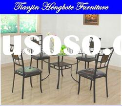 2012 hot salling Slate and glass metal dining table and chair