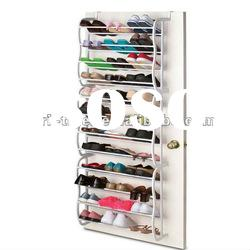 36-pair metal and plastic shoe rack over the door