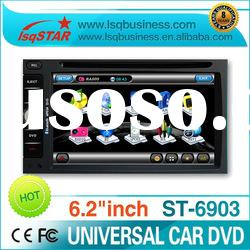 6.2 inch universal car dvd player with DVD/CD/MP3/MP4/bluetooth/ipod/radio/tv/gps! hot selling!