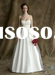 ALW-02 Designer Backless taffeta with sweetheart neckline draped A-line wedding dress
