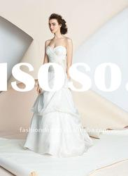 ALW-26 2012 criss-cross draped with sweetheart neckline ruffle taffeta A-line wedding dresses