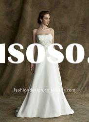 ALW-28 2012 Backless bodice with embroidered strapless satin A-line wedding dresses