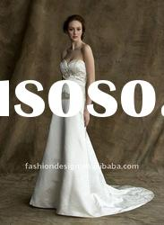 ALW-30 2012 white sweetheart neckline with gold embroidered satin A-line wedding dresses