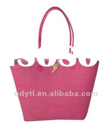 Attractive pink wheat straw woven beach bag