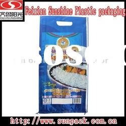 BOPP film laminated PP woven bag with hole cut handle and side gusset for 25kgs rice packaging