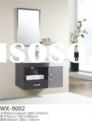 Bathroom furniture set with silver mirror and marble countertop