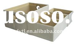 Beige paper fabric storage box with matching color metal handle