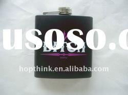 Black stainless steel hip flask gift set