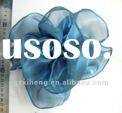 Blue organza flower brooch for garment/hat decorative