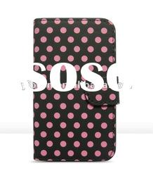 Book style horizontal flip leather case for iphone 4/4s customized leather case
