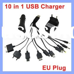 Cell Phone Adapter Mobile Phone Charger Kit USB Wall AC Charger +Car Charger Black 10 in 1