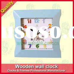 Colorful Square Sharp Quartz Wood Wall Clock 28x4.5x28 CM