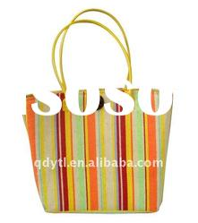Colorful strap wheat straw beach bag