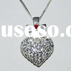 Cross Heart 925 silver necklace with Rhinestone pendant M1159