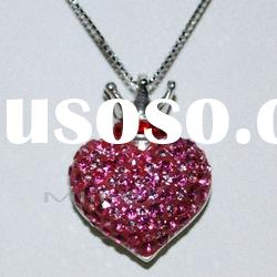 Crown Heart 925 silver necklace with Rhinestone pendant M1158