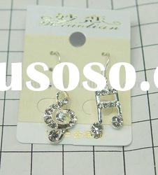 Eco-friendly newest arrival fashion unique music note CZ diamond earrings