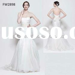 FW2898 Floor Length Strapless Wedding Dress With Open Back