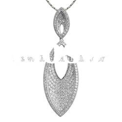 Fashion 925 sterling silver pendant with Micro pave/ Briolette setting