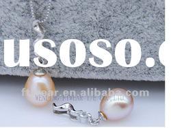 Fashion design sterling silver jewelry,flower girl charms freshwater pearl necklace pendant