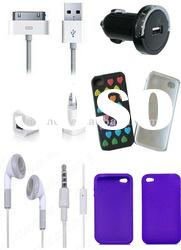 For iphone 4S, iPhone 4 and iphone 3G, 3GS accessories charger/cable/earphone/case, etc.