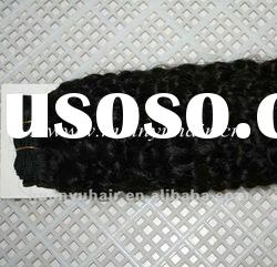 Good Quality 100% Remy Human Hair Machine Weft/Kinky Wave Human Hair Weaving