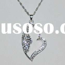 Heart 925 Silver necklace with Rhinestone pendant M1173