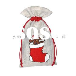 Jute packing bags for Christmas,jute pouch for promotional