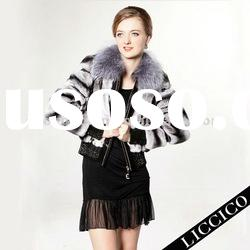 Lady's Rex Rabbit fur Jacket with Silver Fox Fur Collar #2053