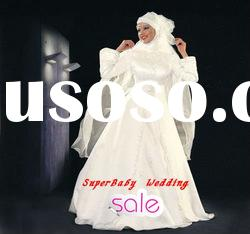 Latest MW008 long sleeve ball gown embroidered bridal muslim wedding dress