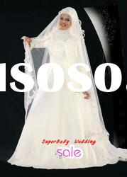 Latest MW014 long sleeve ball gown embroidered bridal muslim wedding dress