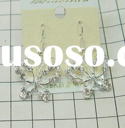 New-Arrival CZ Diamond Butterfly Silver Plated Alloy earrings
