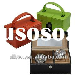 PU leather jewelry box with mirror