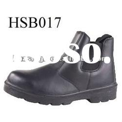 PU sole black no lace safety boots with steel toe cap