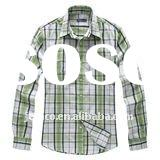Plaid cotton twill shirt with long sleeve, plaid shirt for men and kids