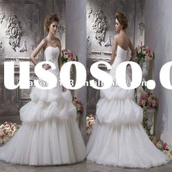 Princess Appliqued Full Pick Up Ball Gown Wedding Dresses