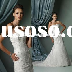 Strapless Appliqued Beaded Crystal A-line Lace Luxury Wedding Gown