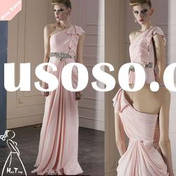 The newest lovely pink one shoulder ruffled long formal evening dress