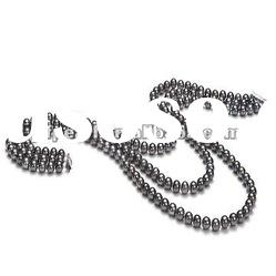 Wholesale 3 rows black freshwater pearl necklace