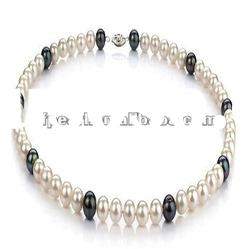 Wholesale black and white freshwater pearl necklace