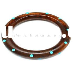 Wood and Bead Dotted Bangle Bracelet