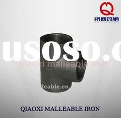 black plain malleable cast iron fitting equal tee
